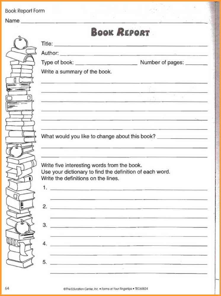 Book Report Template 3Rd Grade