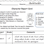 Character Report Card Template
