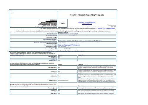 Conflict Minerals Reporting Template