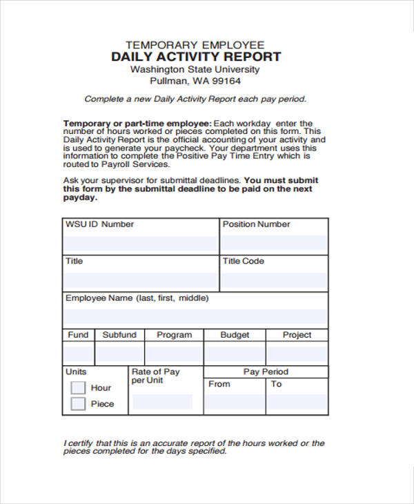 Daily Activity Report Template