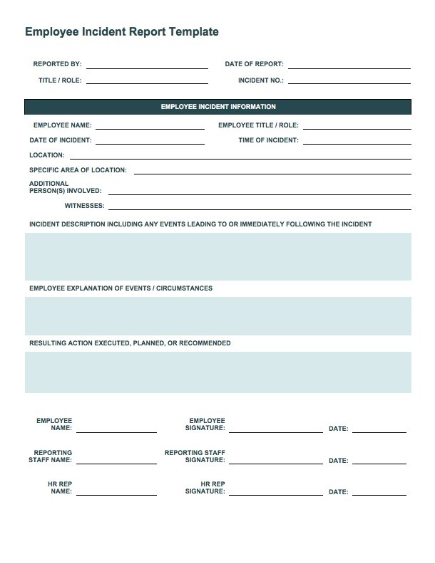 Incident Report Log Template