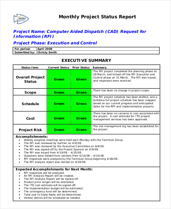Monthly Status Report Template