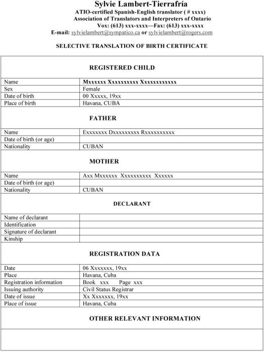 Birth Certificate Translation Template