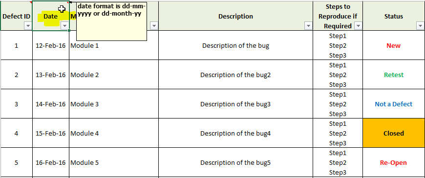 Bug Report Template Xls