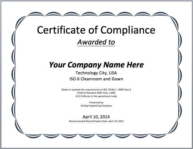 Certificate Of Compliance Template