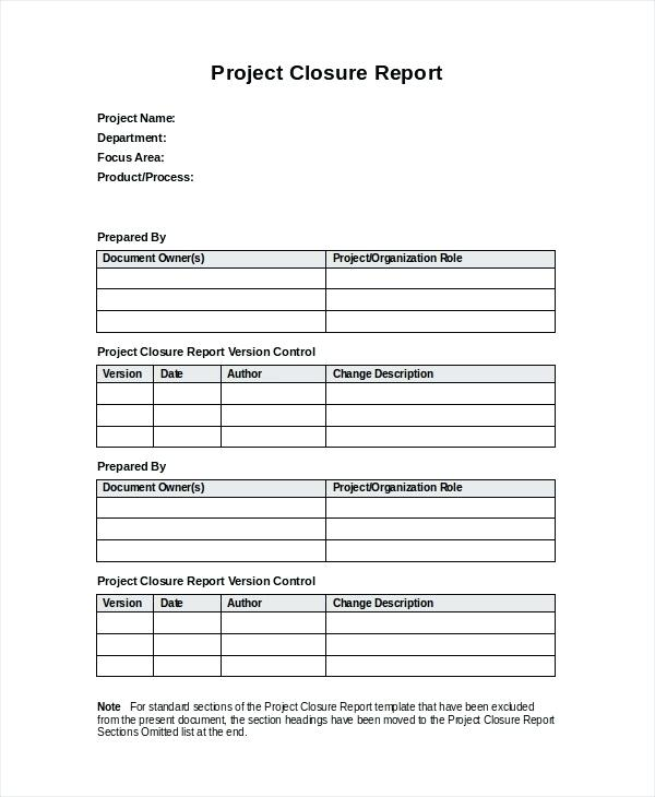 Closure Report Template