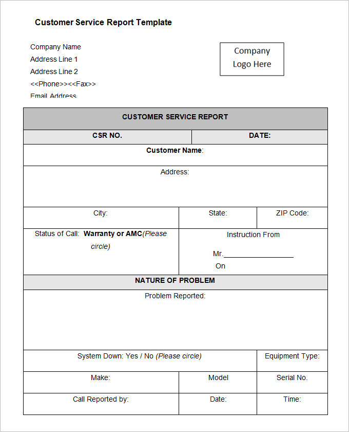 Equipment Fault Report Template