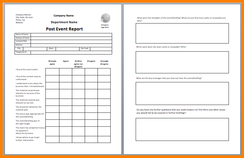 After Event Report Template