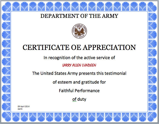 Army Certificate Of Completion Template