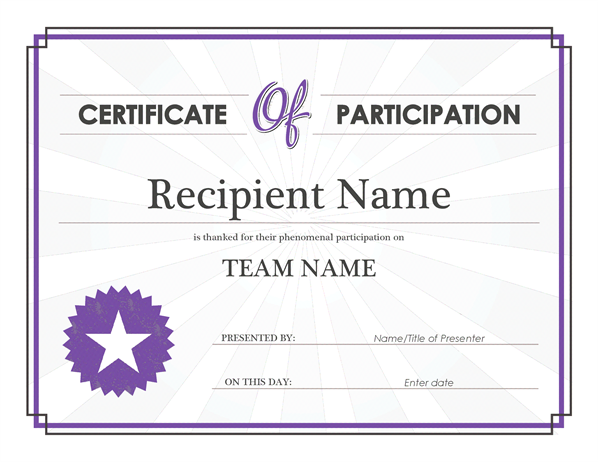 Certificate Of Participation Template Ppt