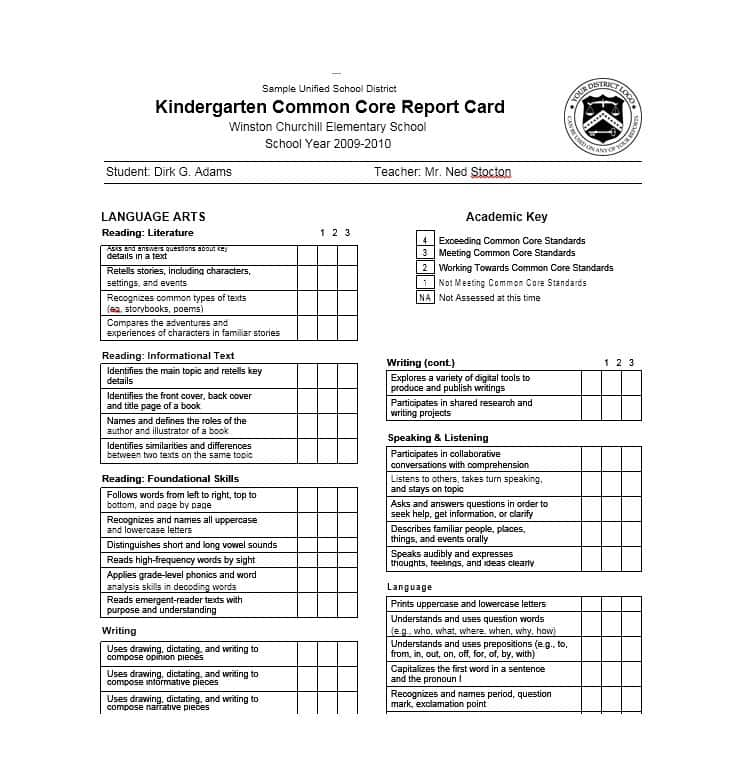 College Report Card Template