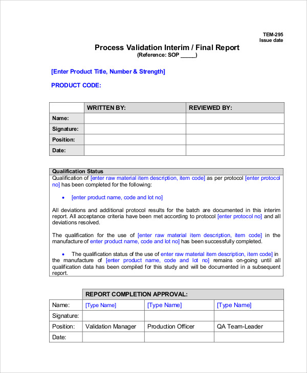 Deviation Report Template