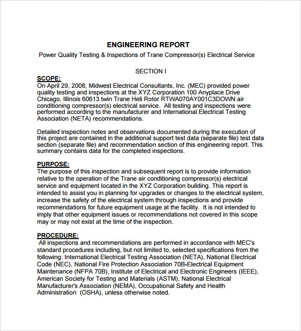 Engineering Inspection Report Template