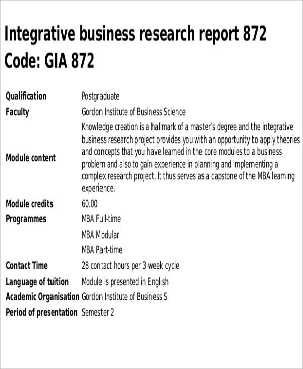 Research Report Sample Template