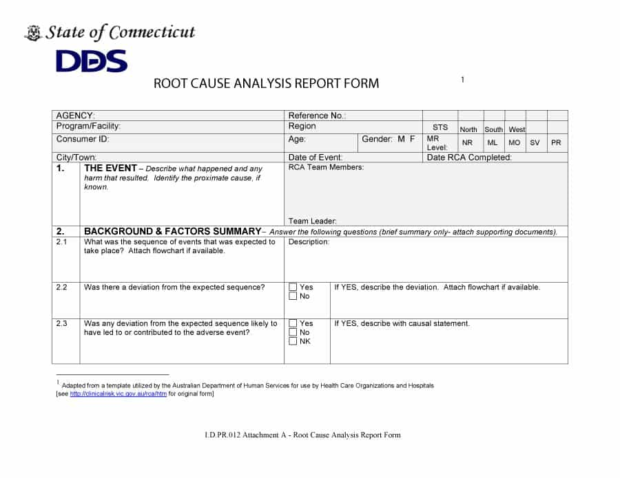 Root Cause Report Template