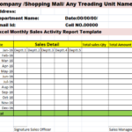 Sales Activity Report Template Excel