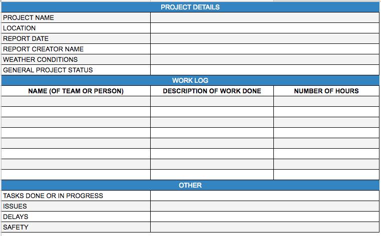 Construction Daily Progress Report Template