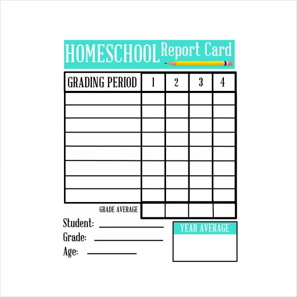 Homeschool Report Card Template Middle School