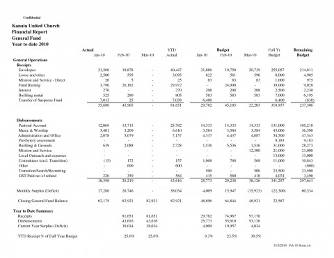 Non Profit Monthly Financial Report Template