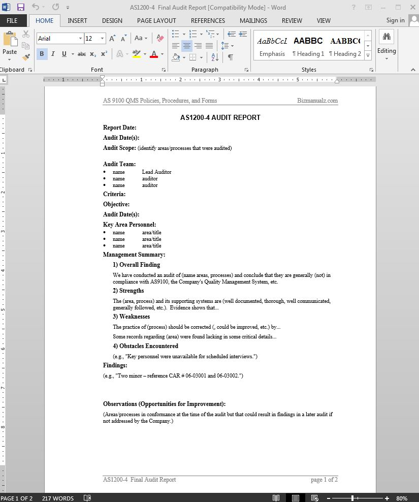 Audit Report Template Iso 9001