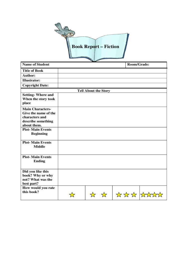 Book Report Template 6th Grade Pdf