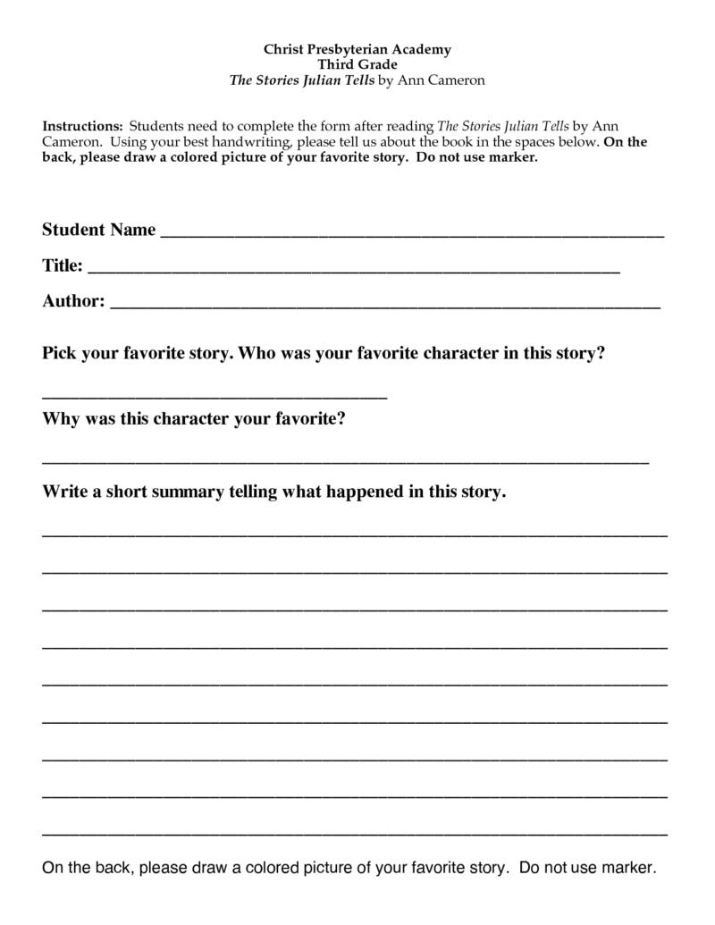 Book Report Template 6th Grade Printable