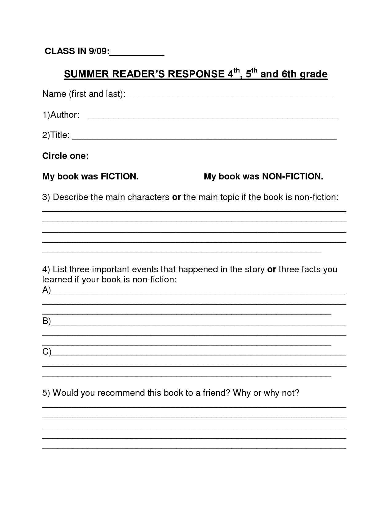 Book Report Template For 9th Graders