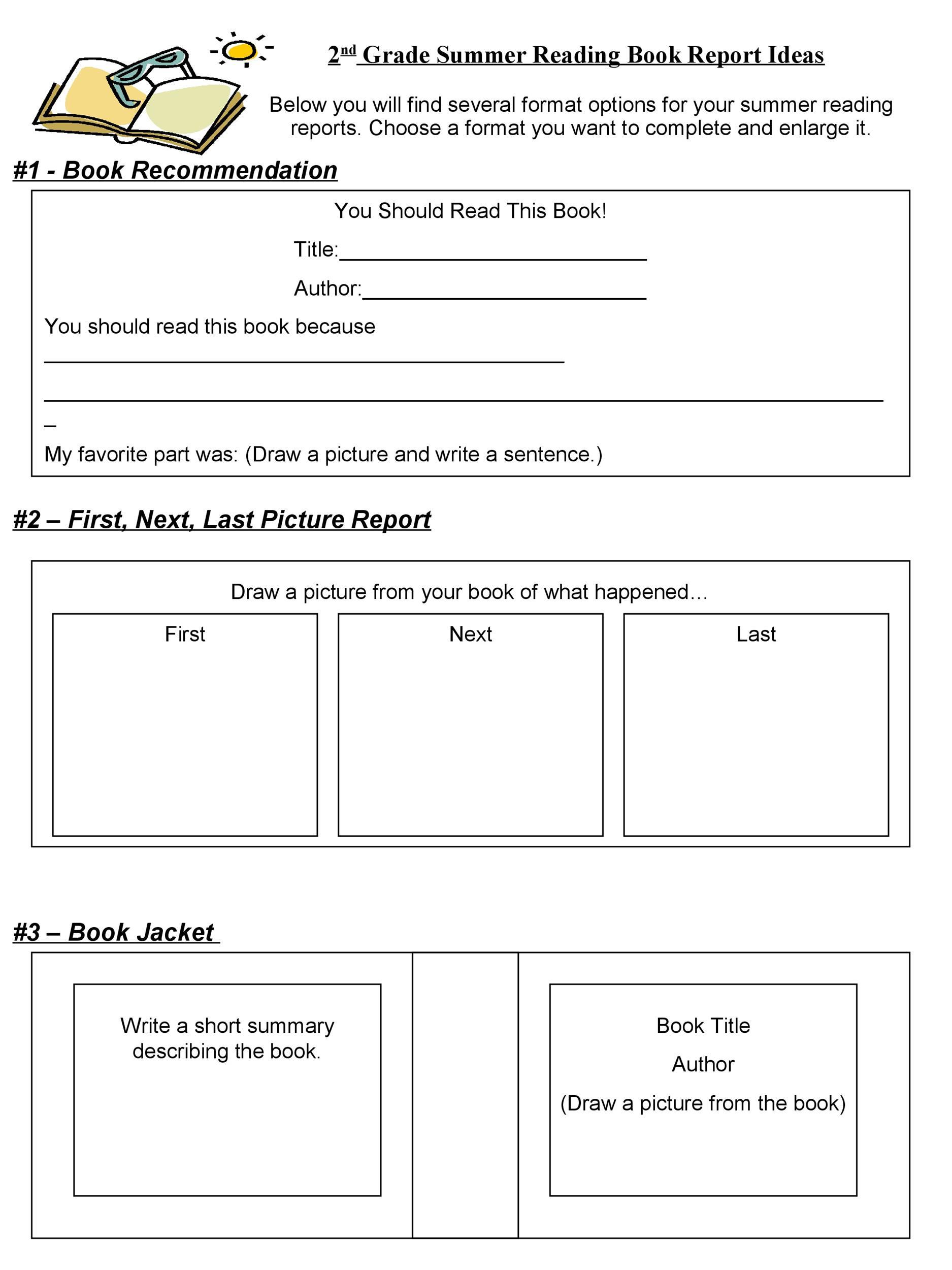 Free Book Report Template 6th Grade