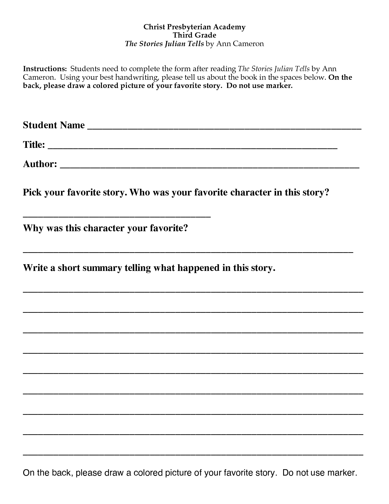 Free Book Report Template 7th Grade