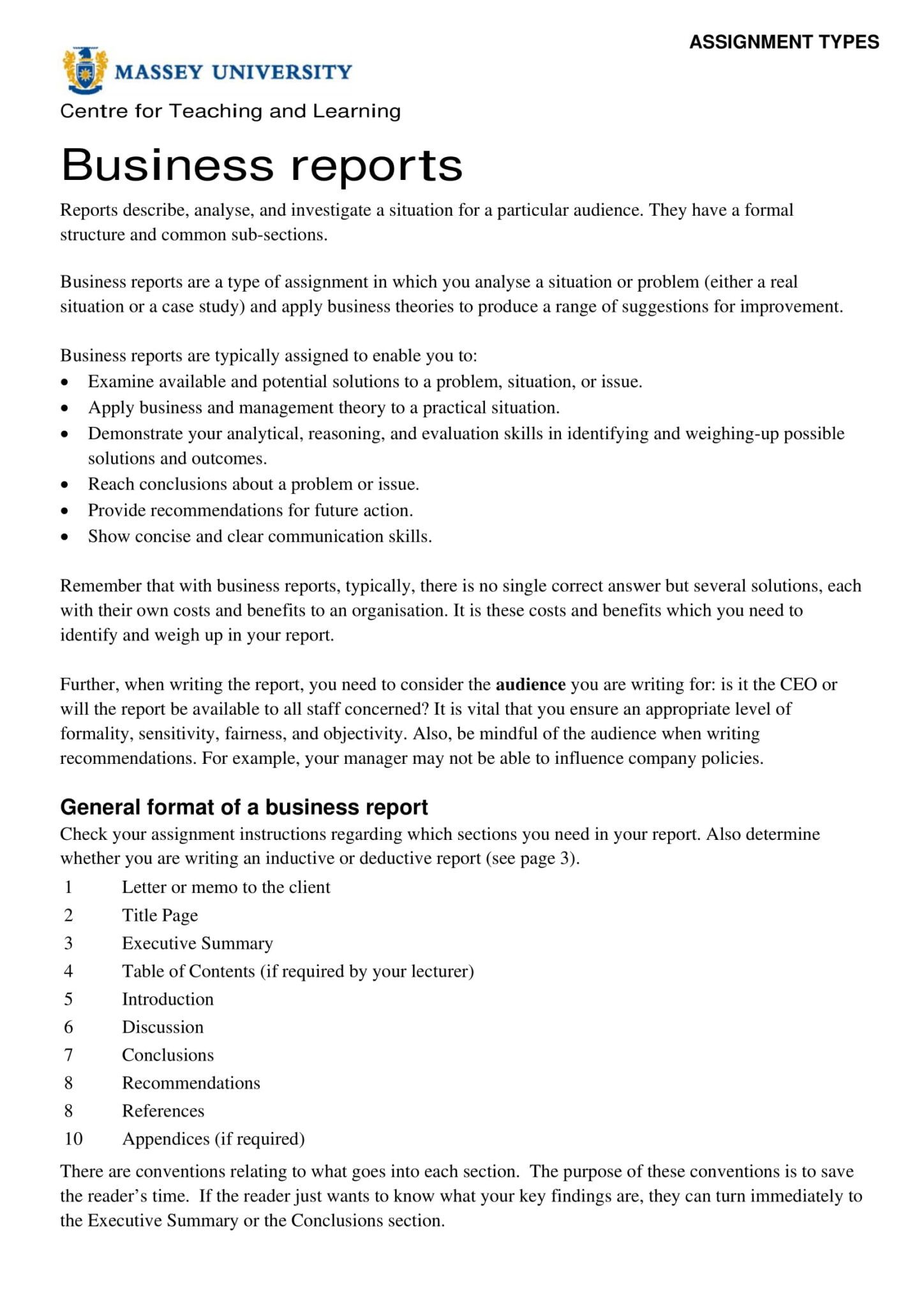 Report Template Business