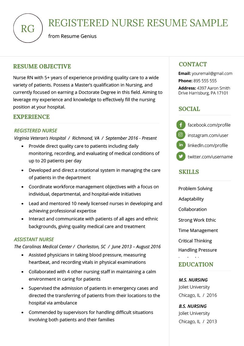 Rn Resume Templates Free
