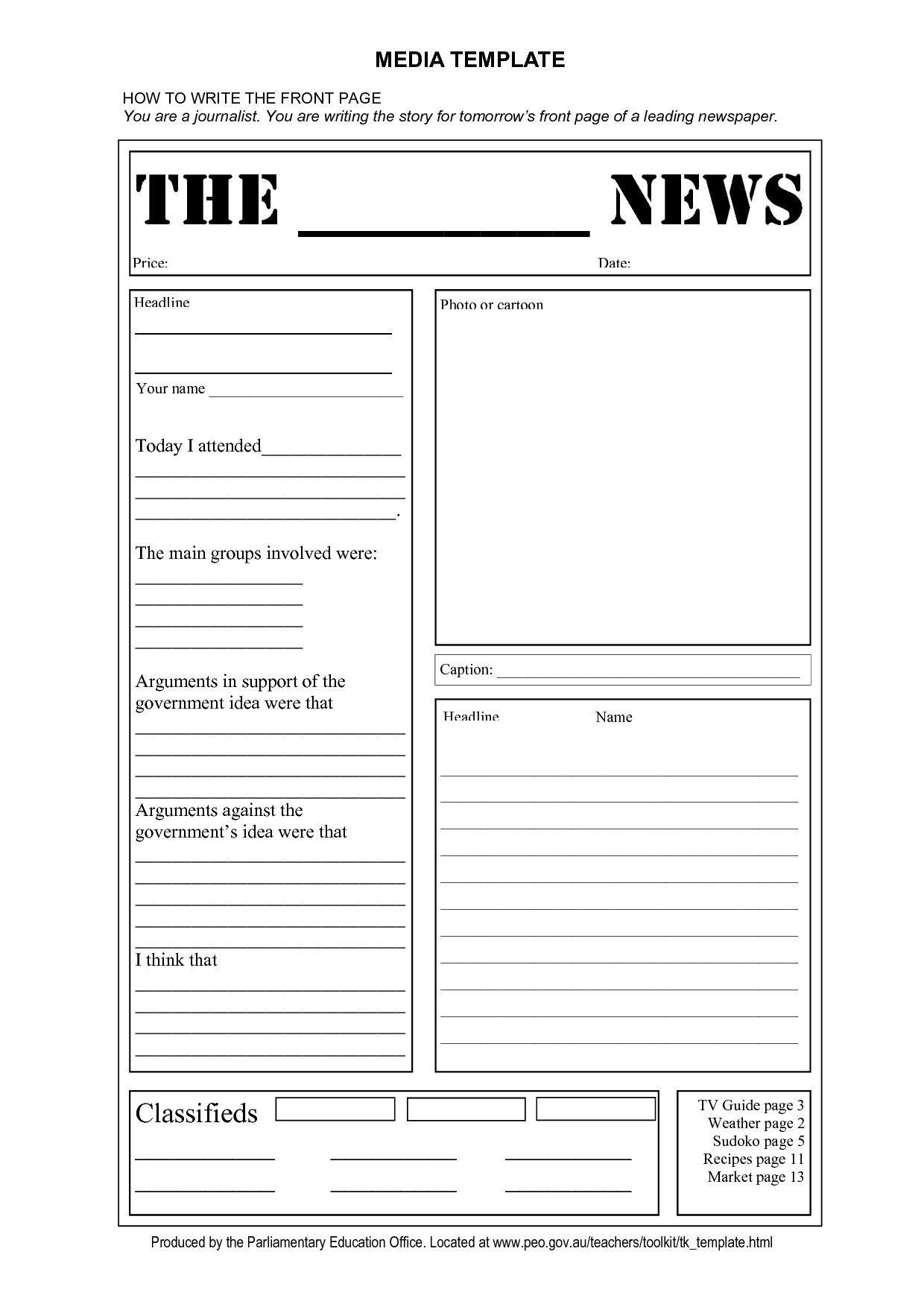 Year 6 Newspaper Report Template