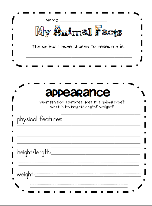 Animal Report Template 4th Grade
