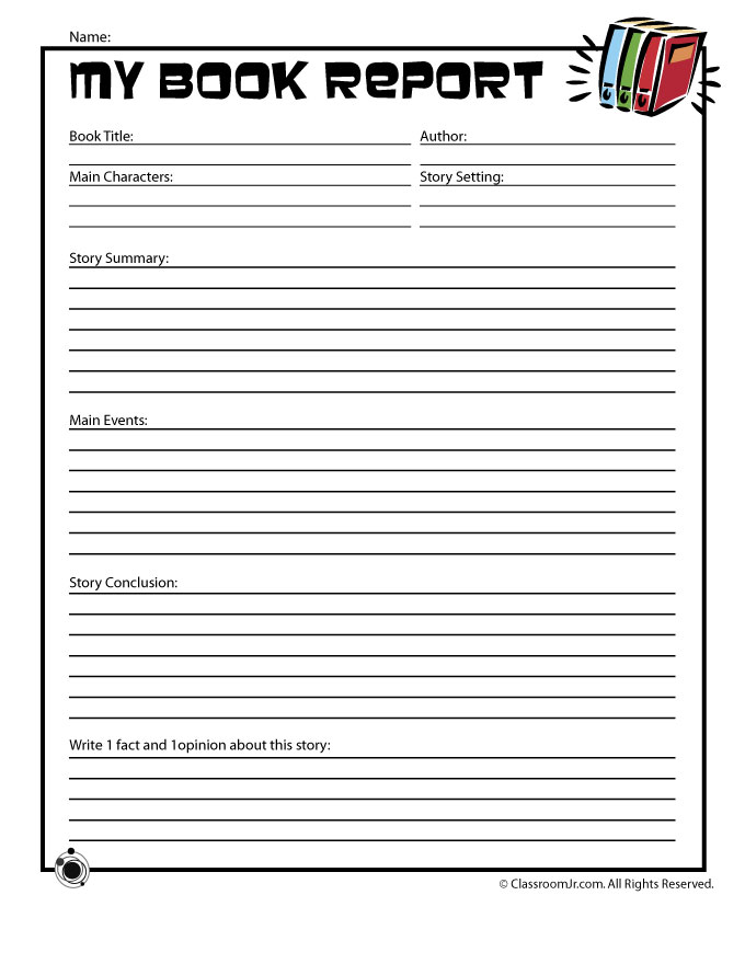 Book Report Template 4th Grade Pdf