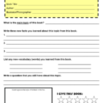Book Report Template 5th Grade Nonfiction
