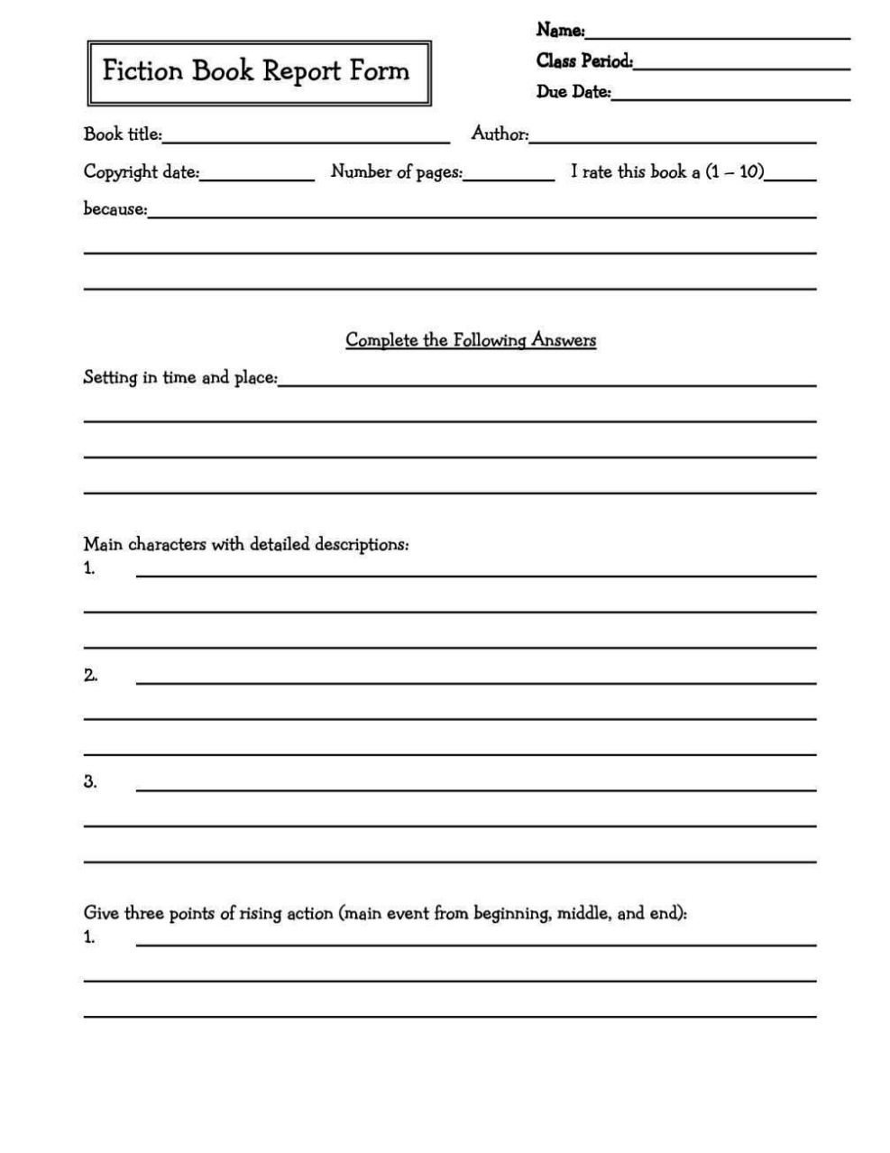 Book Report Template 5th Grade Pdf