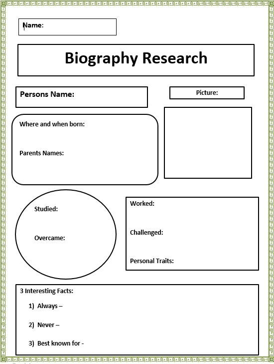 Research Report Template 4th Grade
