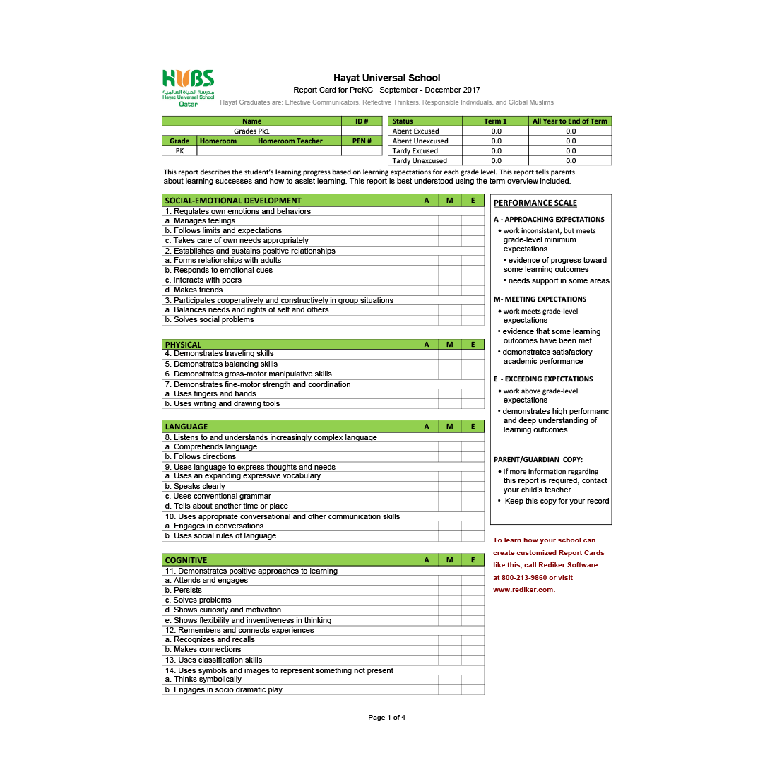Grade 9 Report Card Template